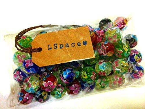 LSpace とんぼ玉 アクセサリー用 パーツ ガラス細工 ラス工芸  5色 50個 (5色 14mm)
