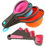 Bulfyss 8PC Silicone Measuring Cups Set Cup Spoon Kitchen Tool Collapsible Baking Cooking