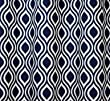 Navy Blue and White Trellis Drape, One Rod Pocket Curtain Panel 96 inches long x 50 inches wide
