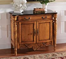 Big Sale French Antique Replica Hand-carved Hardwood Natural Marble Topped Console