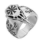 Woogge Men's Viking Ring Odin's Raven Amulet Helm Of Awe Raven Skull Viking Stave Runic Amulet Ring Gothic Jewelry Ring Size US10 (10)