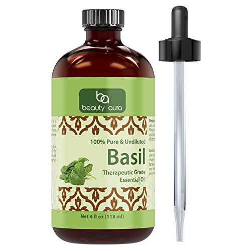 Beauty Aura Basil Essential Oil - 4 Oz Bottle - 100% Pure, Undiluted Therapeutic Grade Oil - Ideal For Aromatherapy - Great Quality Great Value!