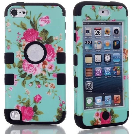 For iPod Touch 5,cute ipod touch 5 cases,Touch iPod 5 case,Flipcase Touch 5 cases,Case for Touch 5 Case 3in1 Beautiful Flowers Picture Hybrid Cover Case Suitable Fit For iPod Touch 5th Generation,ipod 5 touch cases for girls embossed tpu gel shell for ipod touch 5 6 girl in red dress