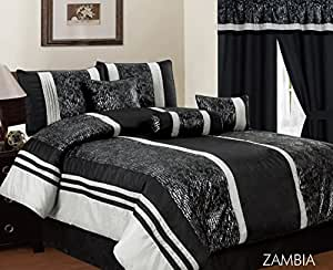 Zambia 7 Piece King Comforter Set Black Home