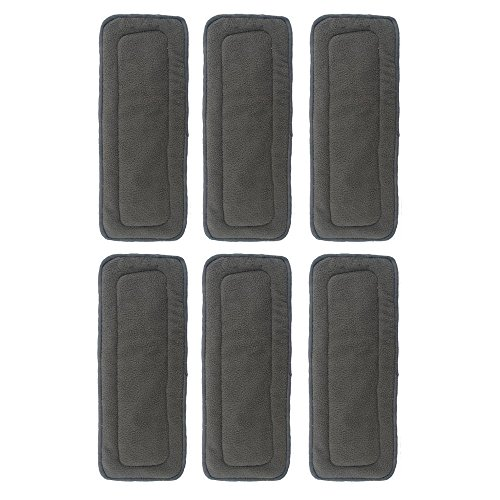 Besto Baby 3 Layer Charcoal Bamboo Inserts Reusable Liners For Cloth Diapers (Pack Of 6) back-764376