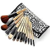 Fraulein38 lot 12 Pinceaux maquillage fard ombre en trousse leopard gris