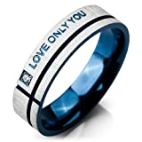 Justeel Men LOVE ONLY YOU Stainless Steel Ring Band Blue Silver Love Couples Wedding Engagement Promise Size R(with Gift Bag) (Width: 0.24