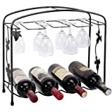 Black Classic Grape Arbor Style 4 Wine Bottles / 8 Wine Glasses Metal Wine Storage Rack