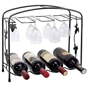 Black Classic Grape Arbor Style 4 Wine Bottles 8 Wine Glasses Metal Wine Storage Rack by MyGift