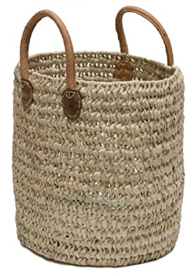 "Moroccan Straw Round Tote Bag w/ Leather Handles - 13""Lx15""W - Malaga"