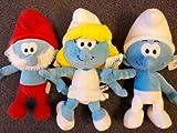 """The Smurf Movie 8"""" toy Plush 3 pcs set -- Smurfette, Smurf & Papa smurf"""