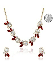 Oviya Fashion Jewellery White & Red Necklace Set With Crystal For Women With Free Silver Laxmi Coin NL2103175GCI...
