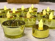 Flameless Gold Tealights – Gold Tealight Holders – Set of 12 Tea Lights and 12 Tea Light Holders -…
