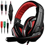 Gaming Headset,DLAND 3.5mm Wired Bass Stereo Noise Isolation Gaming Headphones with Mic for Laptop Computer, Cellphone, PS4 and so on- Volume Control ( Black and Red )