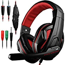 Gaming Headset DLAND 3.5mm Wired Bass Stereo Noise Isolation Gaming Headphones With Mic For Laptop Computer Cellphone PS4 And So On- Volume Control Black And Blue Red