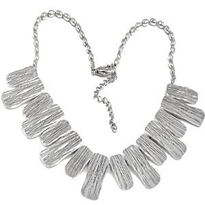 RageIT - Geprägte Streifen Platten Silber Farbe Modisches Statement Halskette