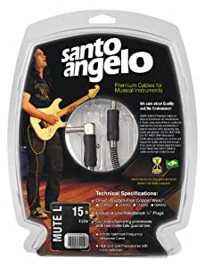 Santo Angelo MUTEPLUG L TX Straight to Right-Angle 1/4-Inch Plug Instrument Cable -  15 Feet