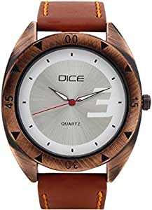 """Dice """"Rose Gold C 6201"""" Casual Round Shaped Wrist Watch For Men. Fitted with Beautiful White Color Dial, Attractive Case and Anti Allergic Leather Strap."""