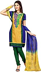 Raahi Unstitched Multi Color Cotton Embroidered Dress Material - Salwar Suit