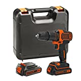 BLACK DECKER BDCHD18KB-GB 18 V Hammer Drill with Kit Box and 2 Batteries