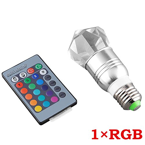 LED RGB E27 3W deko dimmbar 16 Farben Farbwechsel Kristall Spot Lampe Leuchte Licht Birne Glühlampe Leuchtmittel Einbauleuchte mit Fernbedienung (RGB 3W X 1)