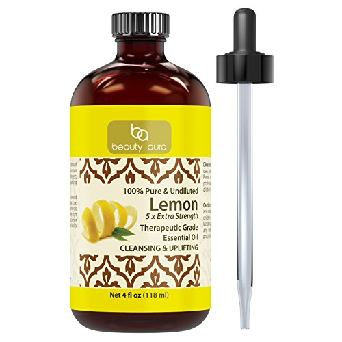 Beauty Aura 100% Pure Lemon (5 x extra Strength) Essential Oil - 4 oz * Made from Real Lemon peels * Ideal for Aromatherapy & for DIY Products (Lemon Peel Oil compare prices)