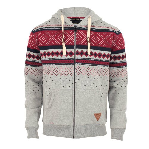 Criminal Damage Mens Brick Aztec Hoodie Grey / Red Small