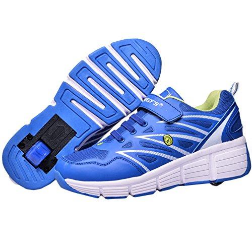KE Unisex ultraleggero e traspirante Stealth Pulsante automatico puleggia Scarpe sportive Pattini (CN32=21CM=EU32, Blue)