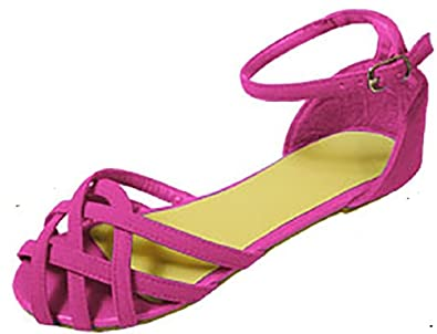 Ladies Famous Nubuck Multi Strap Cage Front Sandals Flat Shoes Clearance Outlet Multicolor Pack