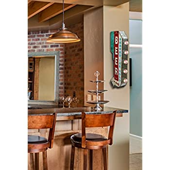 Beer On Draft Served Ice Cold Sign, Illuminated By Battery Powered Large LED Lights, Double Sided Metal Marquee Display, Wall Decor Designed To Have A Distressed Finish