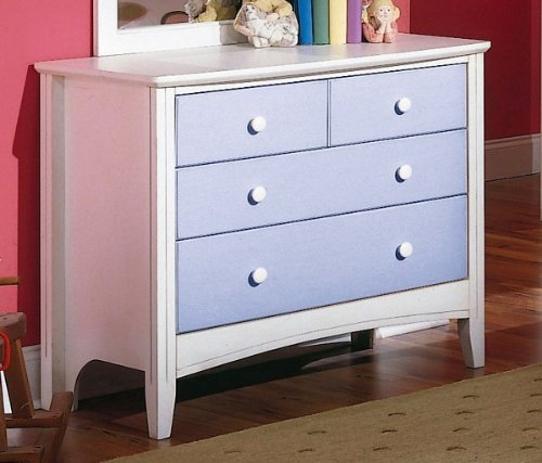 Cheap Kid's Antique White & Blue Storage Dresser (VF_HEB24-5S)