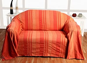 Homescapes jet de lit jet de canap orange rayures de for Jete de canape en lin
