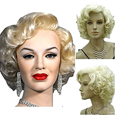 KOLIGHT® Marilyn Style Wig Women Short Curly Sexy Cosplay Costume Party Hot Quality Hair Wig Girls Free Cap+ Comb