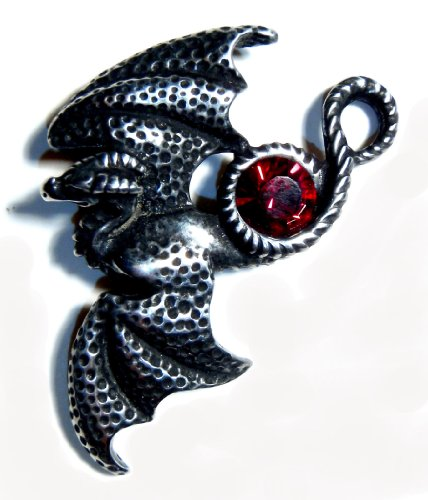 Soaring Dragon Pin with Red Swarovski Crystal
