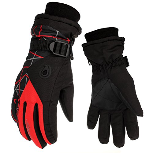 HEYFIT Waterproof Warm Skiing Gloves Windproof Non-slip Wear-resisting Winter Gloves Cold-proof Comfortable for Motorcycle Cycling Biking and Mountaineering for Men and Women (Red, Male)