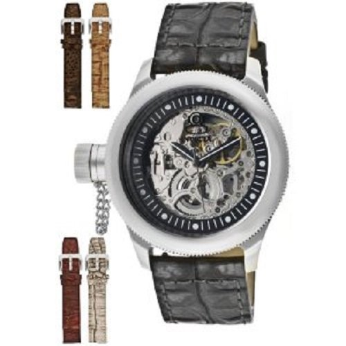 Invicta Men's 10341 Russian Diver Mechanical Silver Tone Skeleton Dial Black Leather with Reptile Pattern Watch