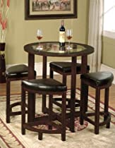 Hot Sale Roundhill Furniture Cylina Solid Wood Glass Top Round Counter Height Table with 4 Stools