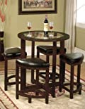 Solid Wood Glass Top Counter Height Table w/ 4 Stools
