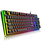 Gaming Keyboard,YockTec RGB LED Breathing Rainbow Backlit Membrane Keyboard-Mechanical-Similar Waterproof USB Keyboard, The eSports gaming keyboard (104 Keys) (Tamaño: 104 Keys)