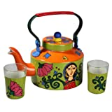 A Krazy Mug Lotus Lady Kettle With Set Of Two Glasses