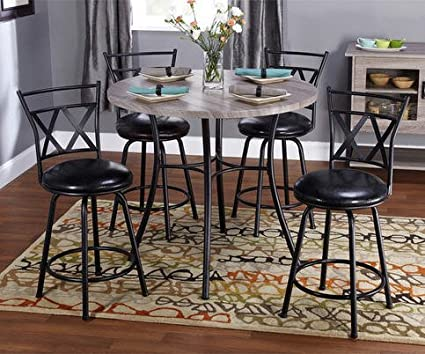 Simple Living 5-piece Seneca Adjustable Height Contemporary Dining Set Round Table and Upholstered Metal Chairs - Counter or Bar Height Dining Table and Swivel Bar Stools
