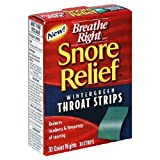 Breathe Right Snore Relief Throat Strips, Wintergreen, 30-Count Packages (Pack of 2)