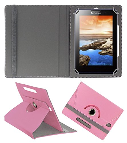 Acm Rotating 360° Leather Flip Case For Lenovo A7-30 2g A3300-Gv Tablet Stand Cover Holder Light Pink  available at amazon for Rs.149