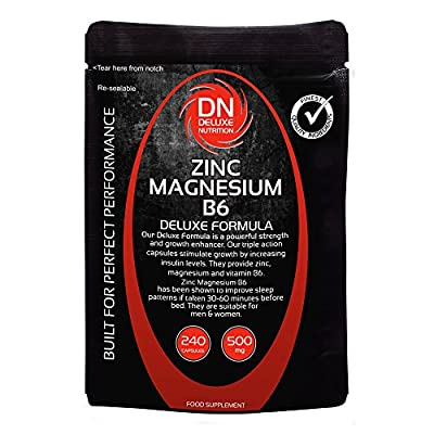 Zinc Magnesium B6 240 Capsules 500mg | Deluxe Formula | Upto 3 months supply from Deluxe Nutrition