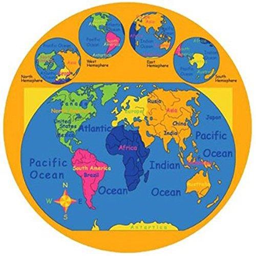 Kids Round Rug World Map Learning Area Rug - Non Slip Bottom (7' 6