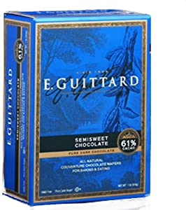E Guittard 61% Semisweet Chocolate Couverture Wafer, 1 pound,  (Pack of 2)