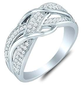 Amazon 10K White Gold Diamond Cross Over Wedding Anniversary OR Fashion Right Hand Ring
