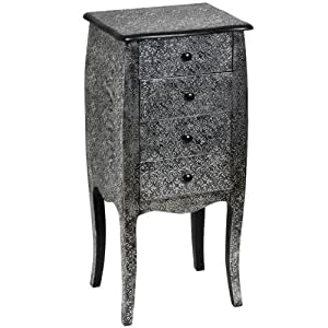Marrakesh Black And Silver Metal Embossed 4 Drawer Tallboy Chest Of Drawers Full Range Of