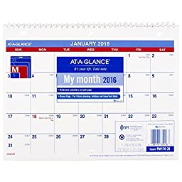 AT-A-GLANCE Monthly Desk / Wall Calendar 2016, 12 Months, 11 x 8-1/2 Inches (PM170-28)