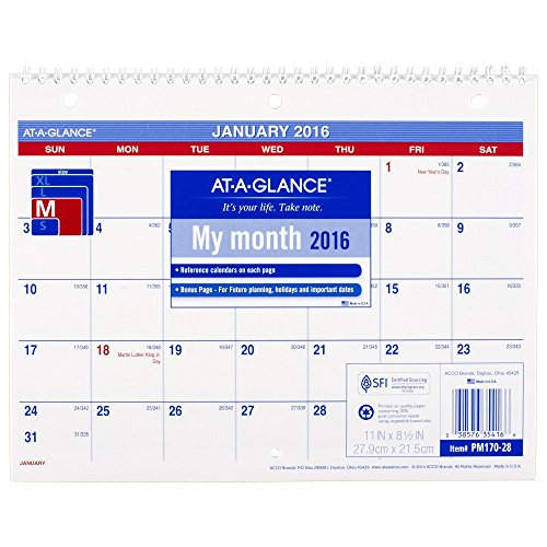 AT-A-GLANCE Monthly Desk / Wall Calendar 2016